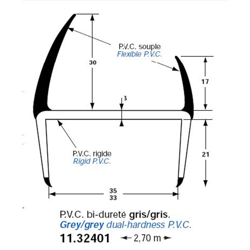 JOINT PVC GRIS/GRIS 35mm L2.7M PORTE ARRIERE POLYESTER PROVAN E2 IMARA (sav)