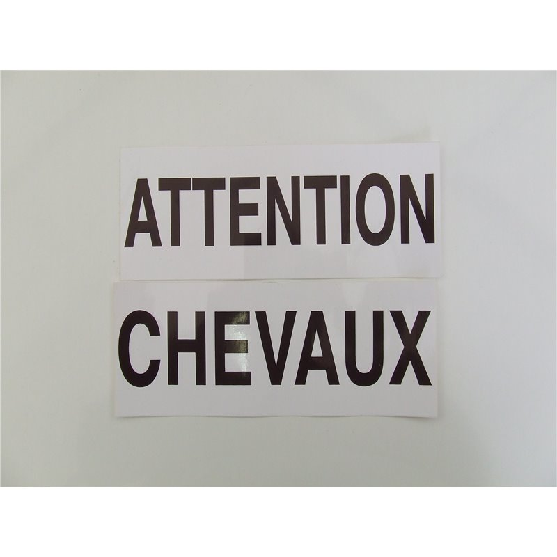 AUTOCOLLANT ATTENTION CHEVAUX EN 2 PARTIES