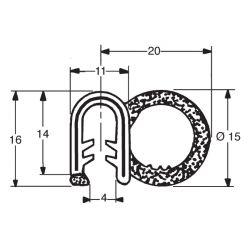 PROFIL CLIPS ARME PORTE AVANT OBLIC+